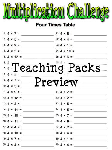 The Times Tables Pack on Printable X Times Table Worksheets For Free My Future