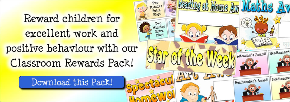 Reward children for excellent work and positive behaviour with our Classroom Rewards Pack!